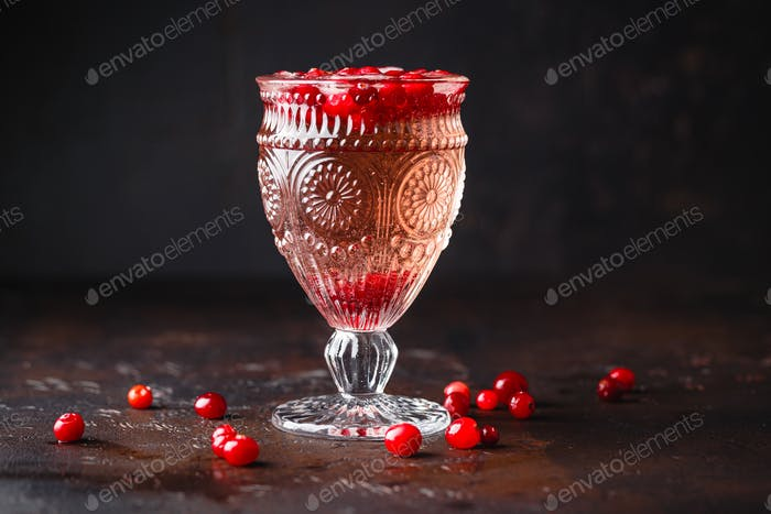 Red cockatil with ice and cranberry on the dark background