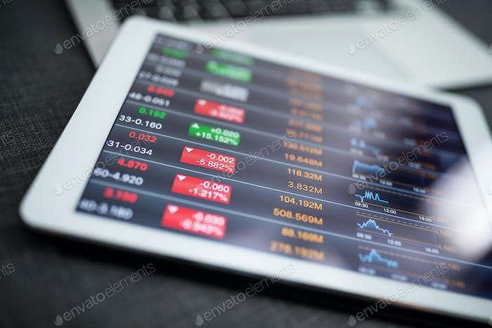 Financial data on digital tablet