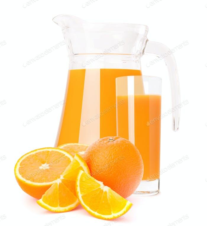 Orange fruit juice in glass jug