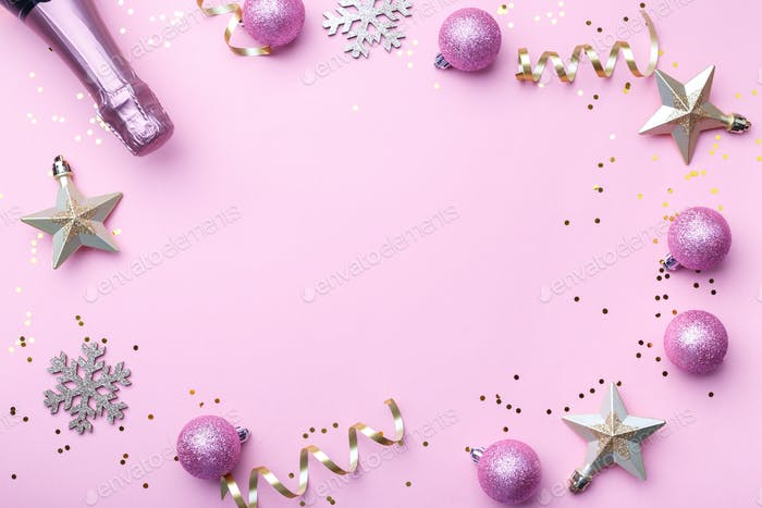 Christmas flat lay on pink background