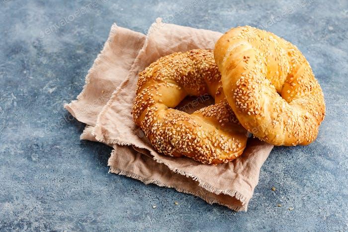 Simit.Traditional turkish round bagel