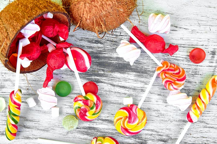 Explosion of candies from coconut.