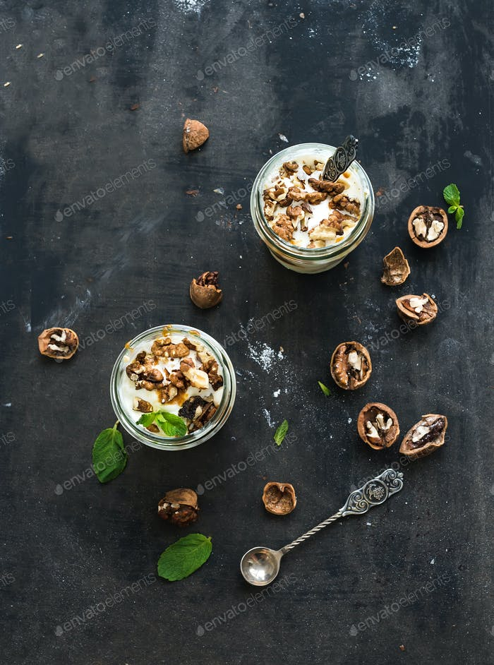 Walnut and salted caramel ice-cream