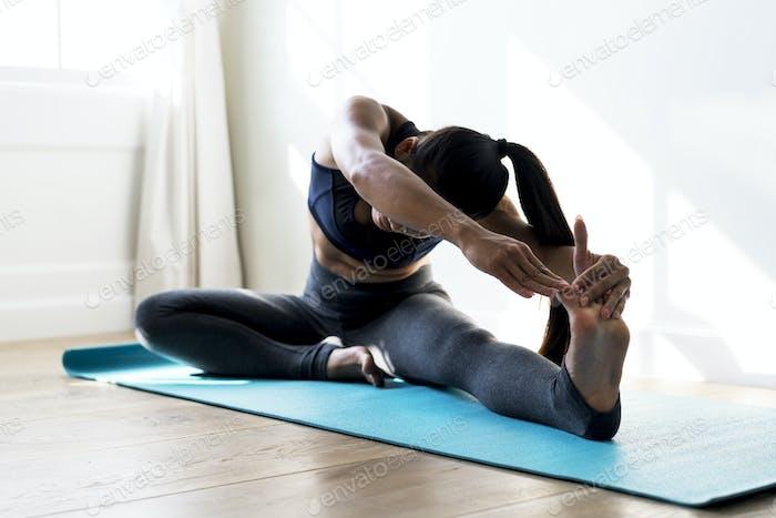 Asian woman stretching