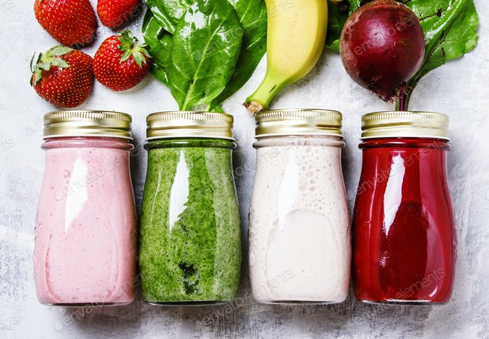 juices and smoothies of fresh vegetables, fruits and berries