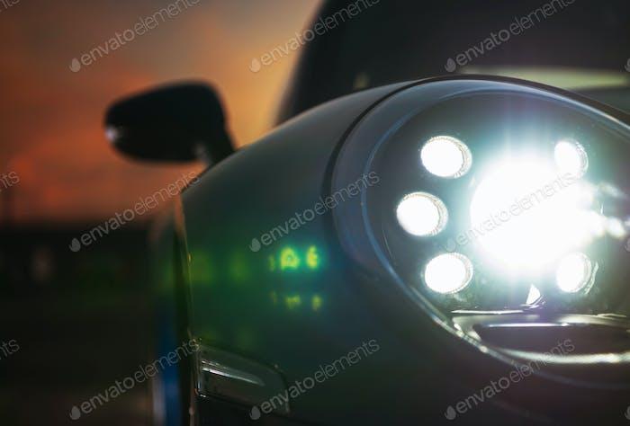 Modern LED Front Car Light. Bright Vehicle Headlights