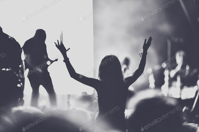 People with raised arms partying at concert. Toned image