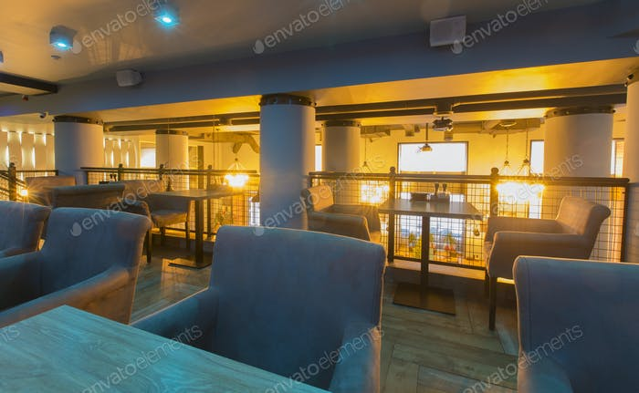 Modern dining place, contemporary design background, , no people