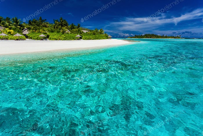 The best snorkeling location on the resort beach in Maldives