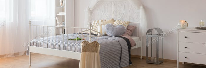 White stylish bed