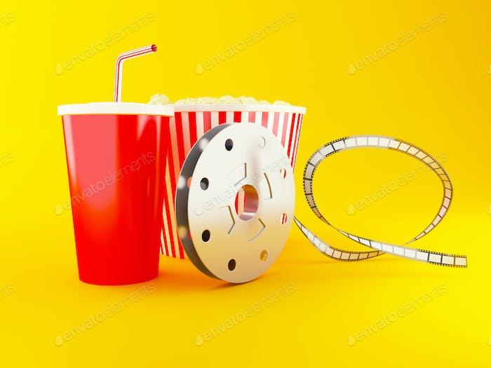3d Film reel, popcorn and drink.