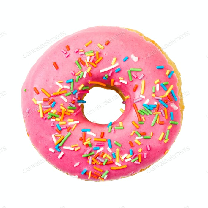 Donut with colorful sprinkles. Top view.