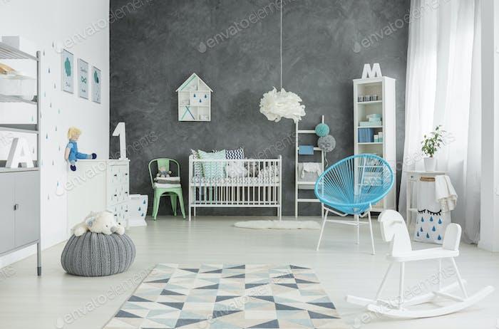 Scandi style, spacious child room