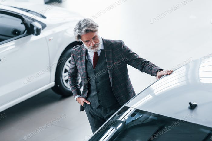 Fashionable old man with grey hair and mustache that looking for a new car indoors in salon
