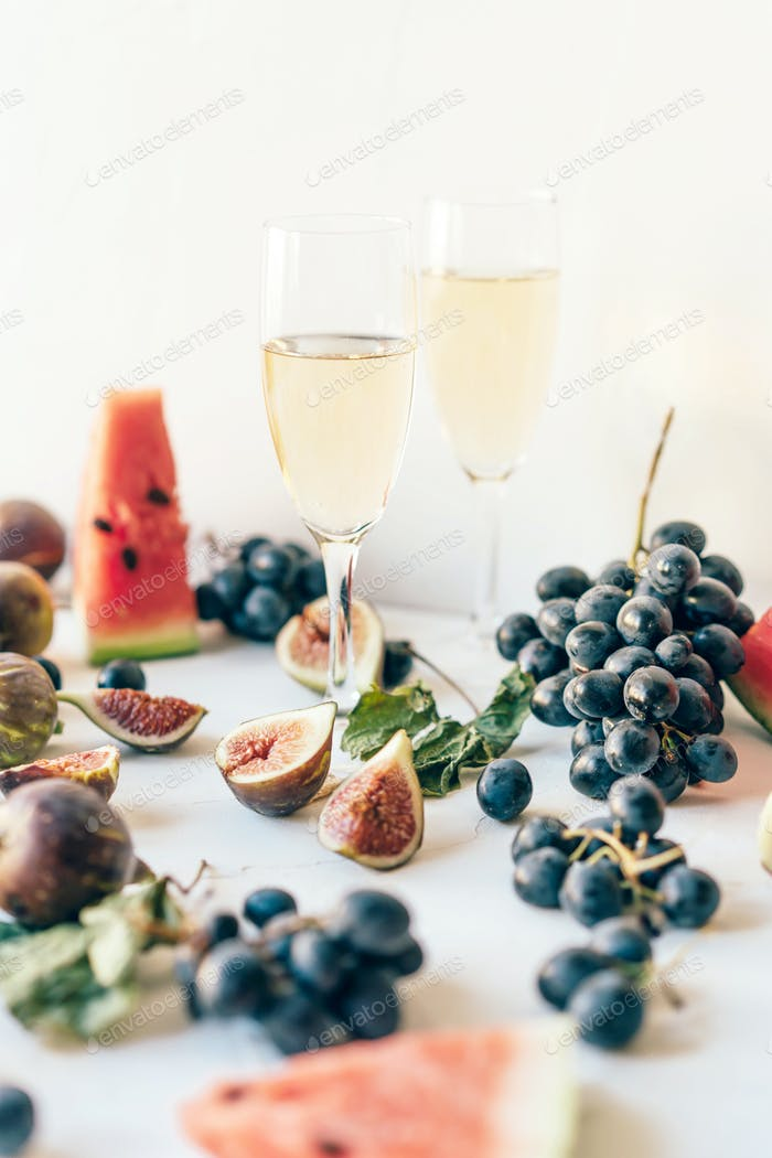 Tasty juicy appetizing food still life of fresh fruits and berries of the summer harvest
