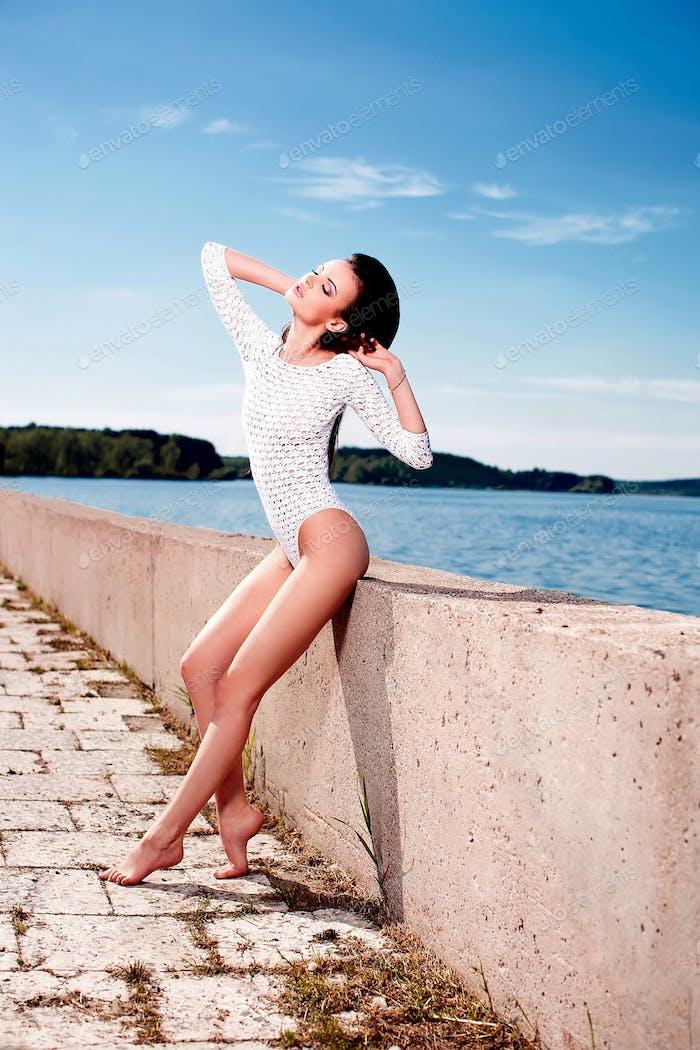 Beautiful woman posing outdoors