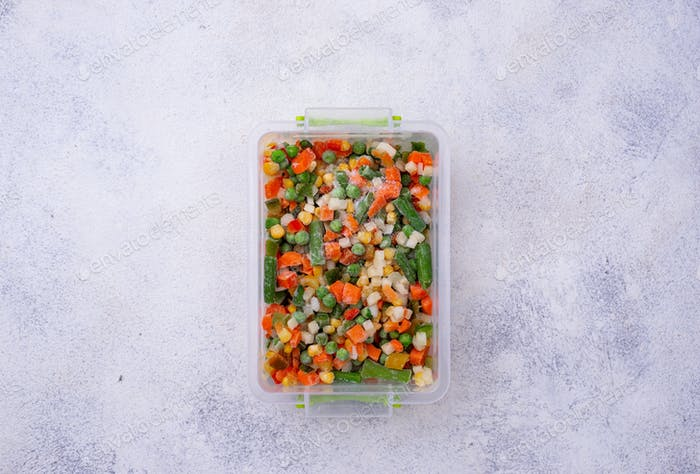 Set of various frozen vegetables