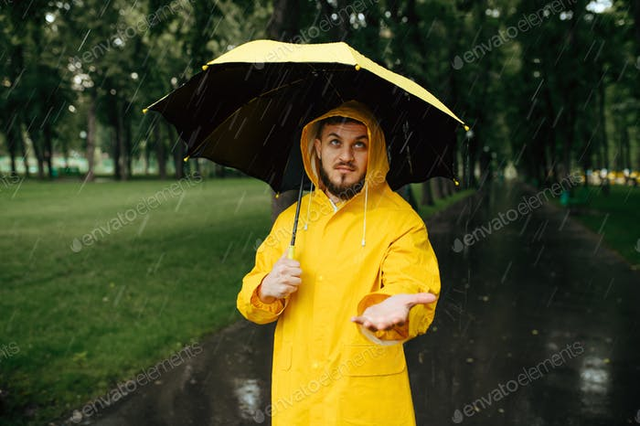 Man with umbrella walking in park in rainy day