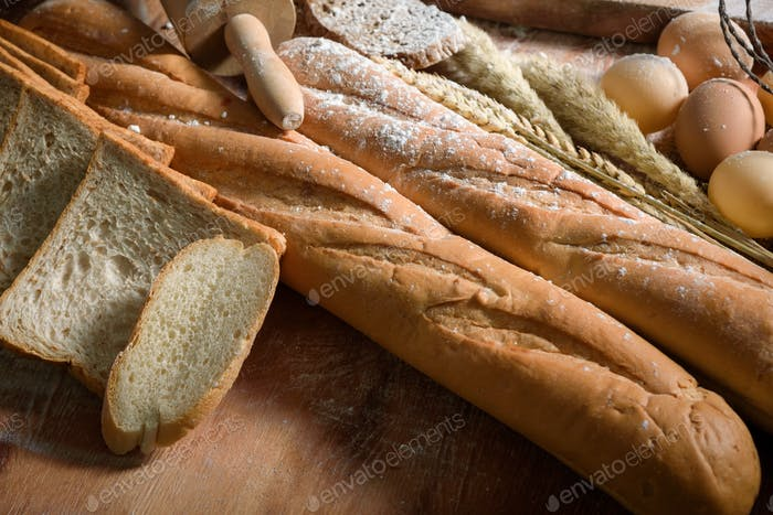 Fresh mixed baked delicious bread and wheat, Food concept