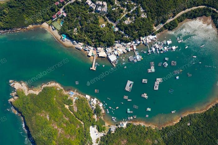 Aerial view of Hong Kong natural island