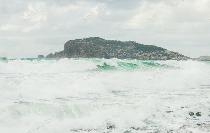 Stormy Mediterranean sea in winter in Alanya, Turkey