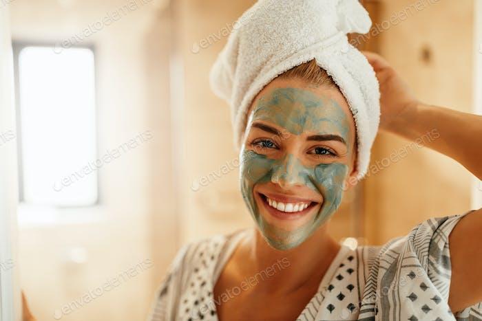 Rejuvenating her skin