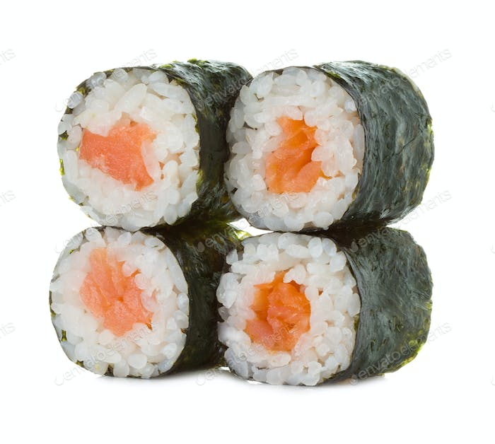 Sushi rolls isolated on a white background.
