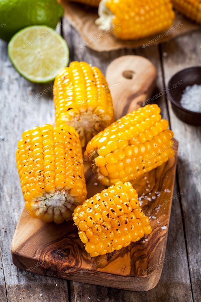 Grilled sweet corn with salt and lime