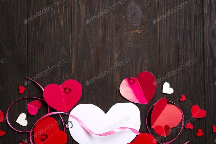 Border of Red paper hearts media love putting
