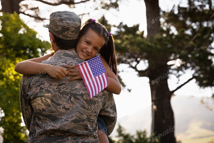 Soldier with daughter