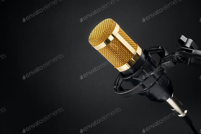 Gold condenser microphone on black