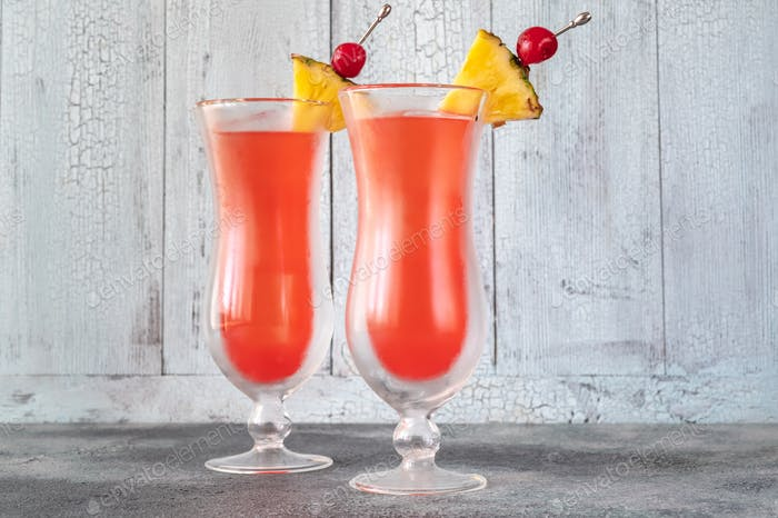 Two glasses of Singapore Sling