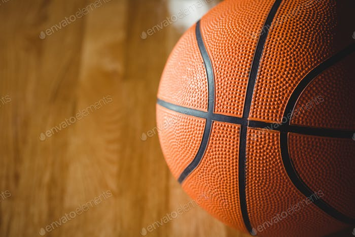Extreme close up of orange basketball