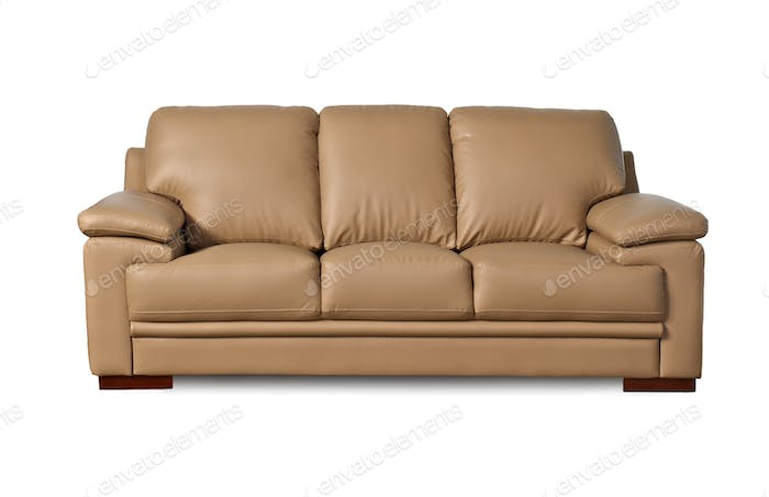 Light brown leather sofa on white background