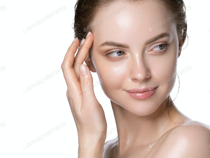 Hydration skin woman beauty healthy clean skin face beautiful model neck shoulders isolated white.