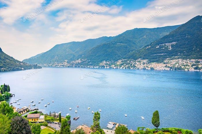 Como Lake landscape. Cernobbio village view, Italy