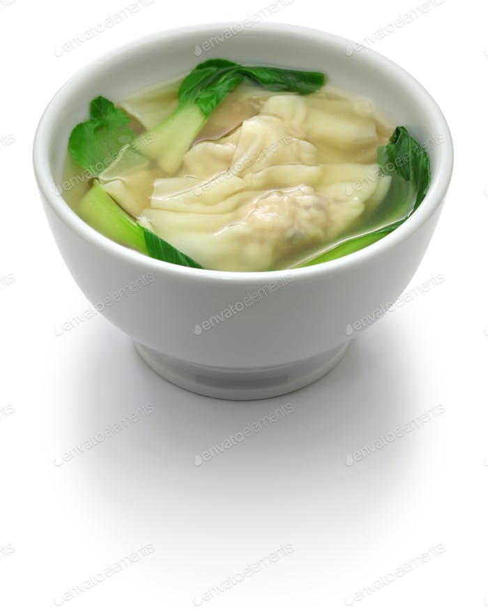 homemade wonton soup with bok choy: a kind of chinese dumpling