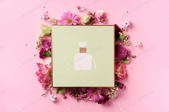 Frame of pink flowers over punchy pastel background. Valentines day, Woman day concept. Spring or