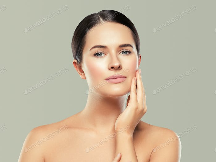 Beauty woman healthy skin concept natural makeup beautiful model girl face