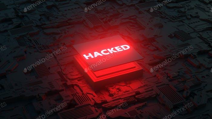Vulnerabilidad de CPU Renderizado 3D. concepto de procesador pirateado