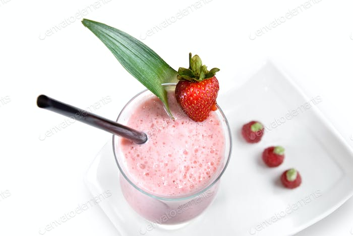strawberry milkshake isolated on white