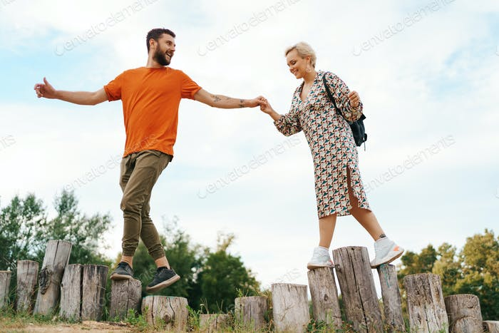 Active happy couple spend time together