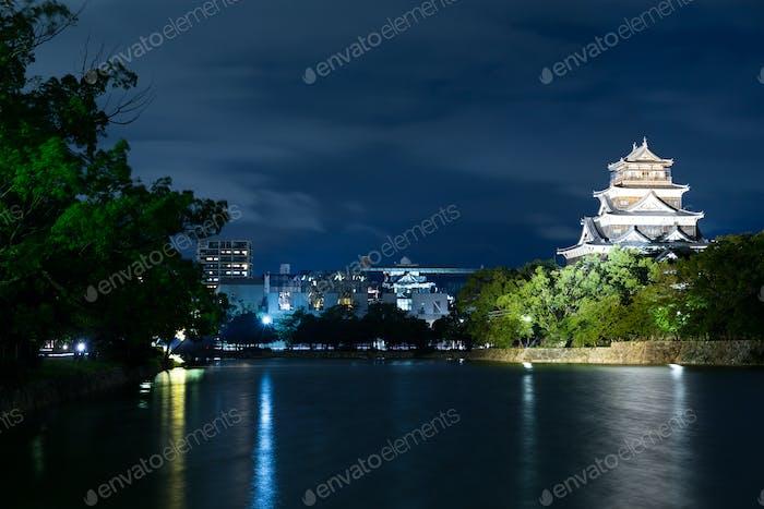 Hiroshima Castle in Hiroshima at night