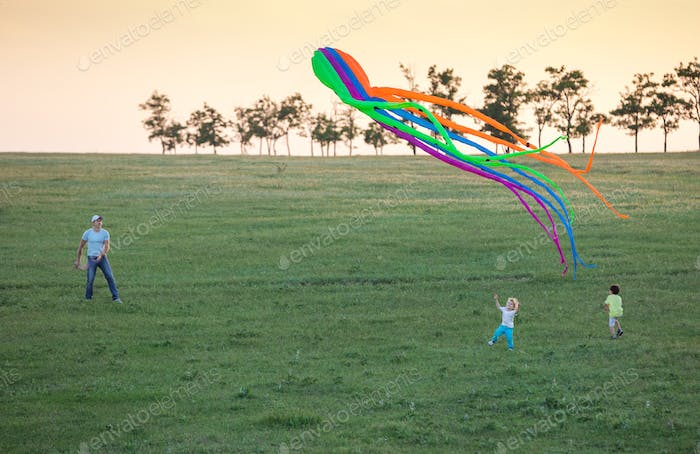 Father and two sons flying kite together on green field in evening