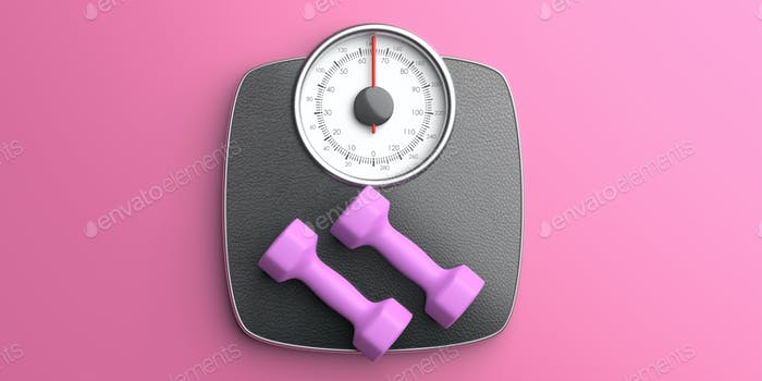 Bathroom scale and pair of dumbbells against pink color background, top view. 3d illustration