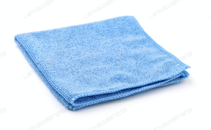 Blue folded microfiber cloth