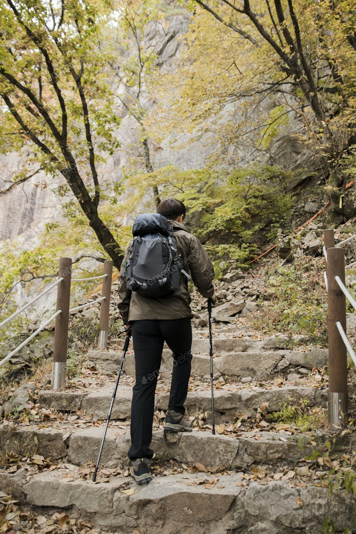 male hiking mountain