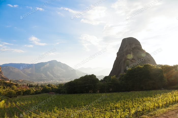 A Beautiful Sunset over vineyard in Meteora, Greece