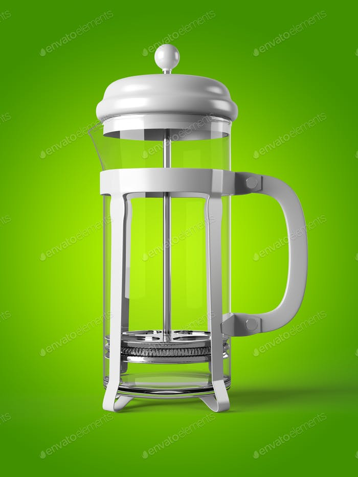 French press isolated on a background 3D rendering
