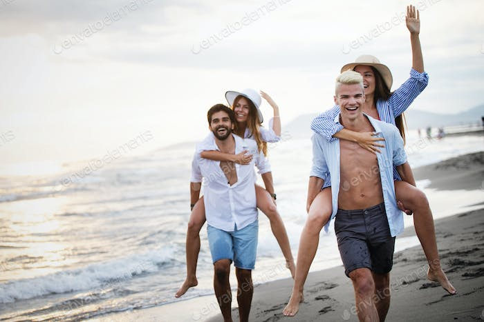 Friendship freedom group vacation beach summer holiday concept
